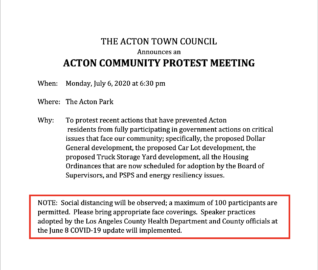 Acton Town Council – Protest Meeting July 6, 2020