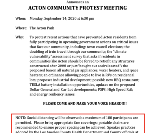 Acton Town Council – Protest Meeting September 14, 2020
